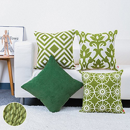 baibu Cotton Embroidery Decor Throw Pillow Case with Solid Corduroy Design Cushion Cover Green 4PCS