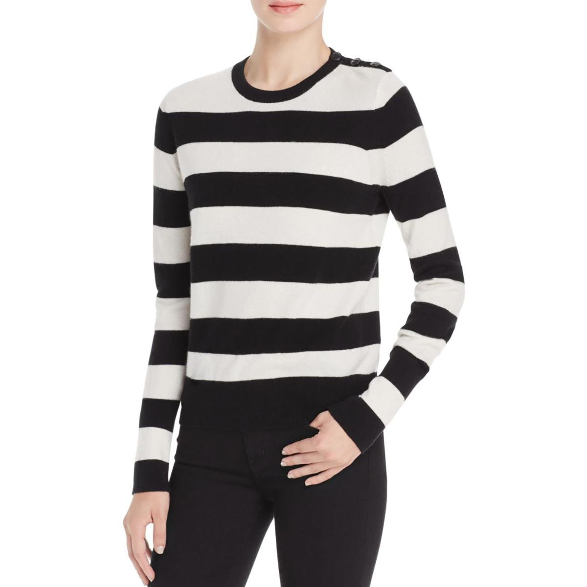 Rag & Bone Womens Careen Striped Ribbed Trim Pullover Top Black-Ivory XS