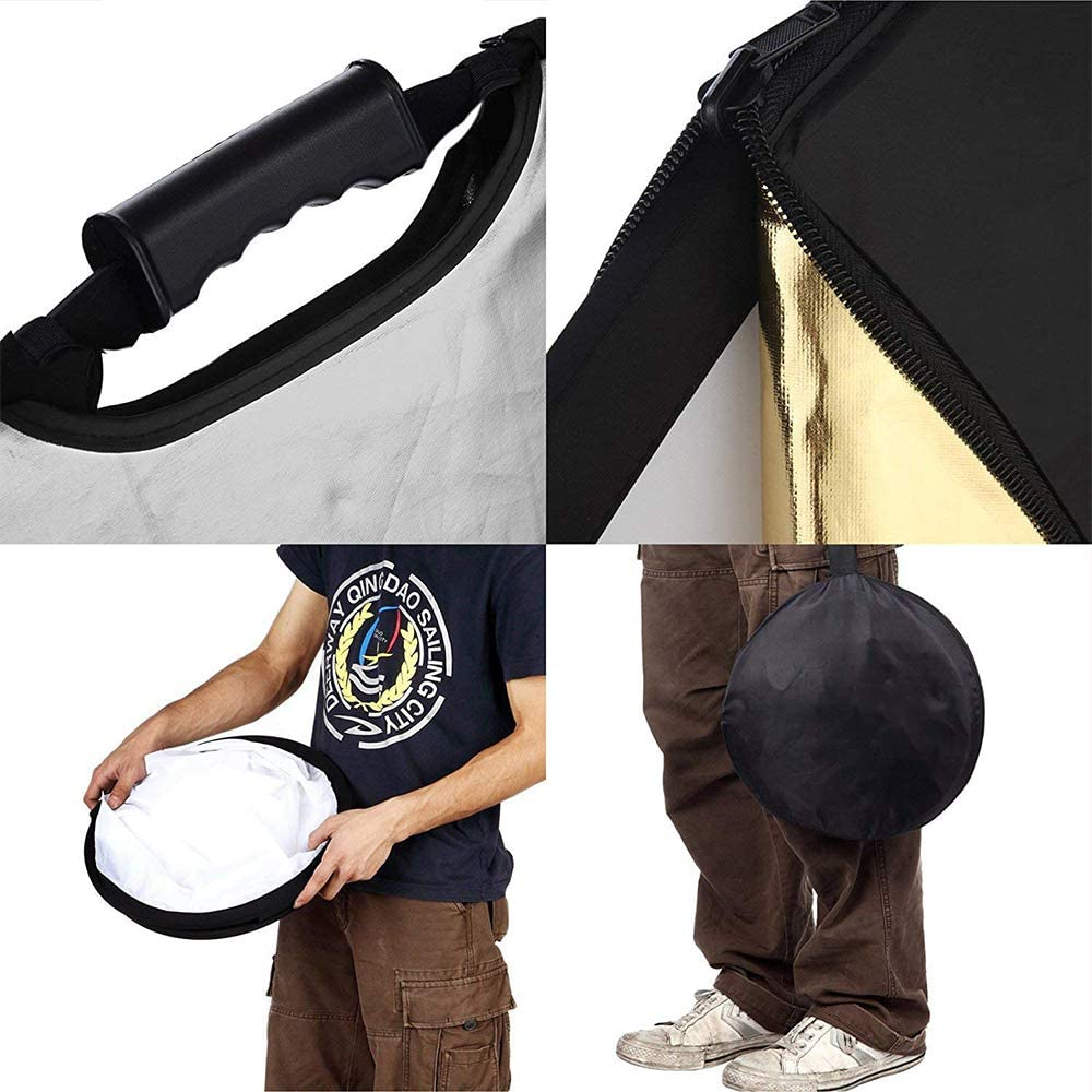 """Black Gold White Silver Translucent. GODOX 39/""""x59/"""" 100x150cm 5-in-1 Collapsible Portable Disc Light Reflector with Bag for Studio and Photography"""
