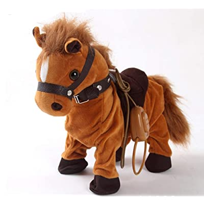 Haktoys Updated Remote-Controlled, Dancing, Singing and Walking Pony Pet | Wired Walk Along Brown Horse Musical Toy with Leash | Now with 9 Different Child-Friendly Songs, Realistic Design and Sounds: Toys & Games
