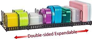 Double-side ExpandableFoodContainerLidOrganizer,Super LargeCapacityAdjustable12DividersDetachableLidOrganizerRackforCountertop,Cabinets,Cupboards,PantryShelves,Drawers(Black)
