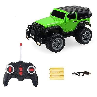 1:18 2 canales 2WD Control remoto por infrarrojos Simulación de vehículos eléctricos RC Off-road Car Racing Car para niños Juguetes (Color: Verde): Bricolaje y herramientas