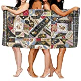 Quilt Crazy Pattern Premium 100% Polyester Large Bath Towel, Suitable For Hotel, Swimming Pool, Gym, Beach, Natural, Soft, Quick Drying