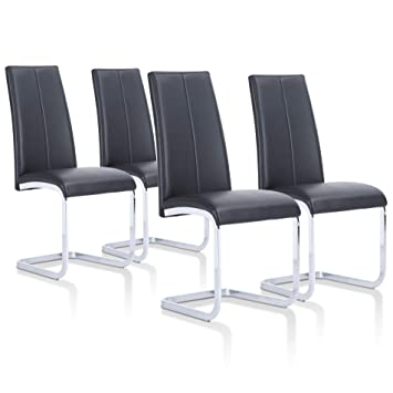 SuenosZzz - Pack sillas (x4) Ceres Color Negro, para Comedor o Salon|  Tapizado en Piel Sintetica | Sillas de Patas metalicas | Conjunto de sillas  ...