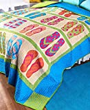 The Lakeside Collection Summer Flip Flops King Quilt -