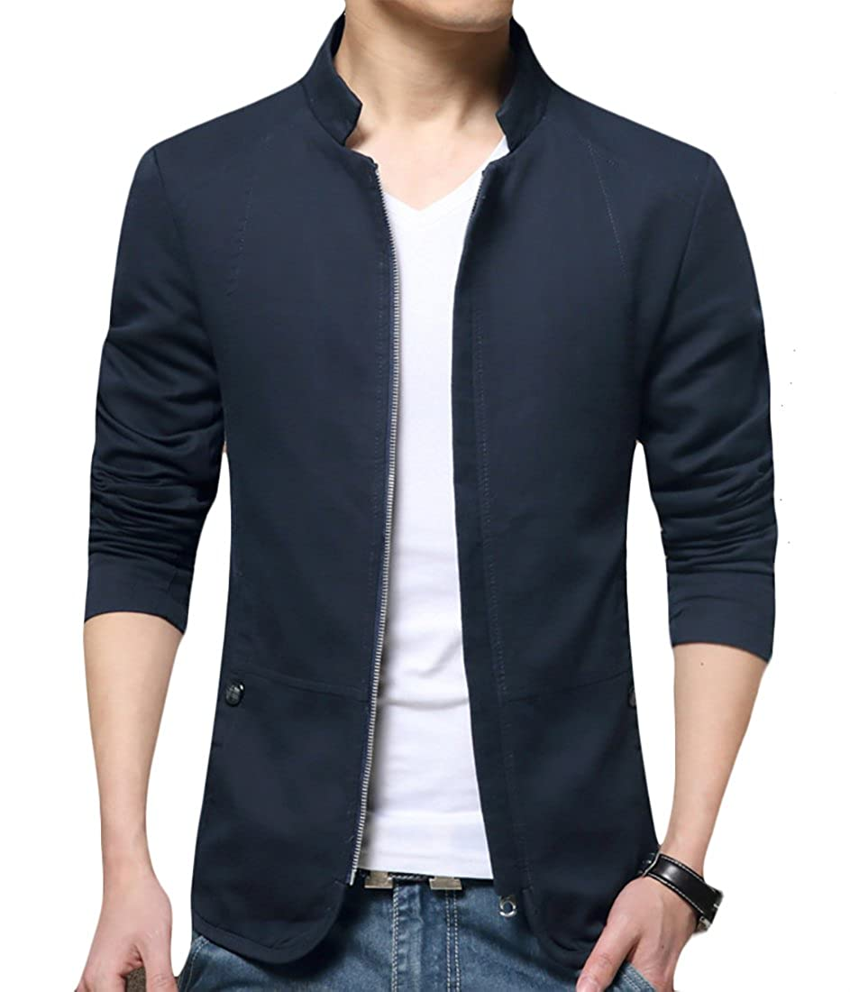 ainr Men's Long Sleeve Winter Zipper Military-Style Solid Color Casual Slim Fit Coat