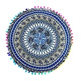 Indian Mandala Large Round Bohemian Floor Pillow Cover Cushion Yoga Meditation Seating Ottoman Soft Zipper Throw Cover Hippie Decorative Pouf Pillowcases 17.017.0'' (Sky Blue)