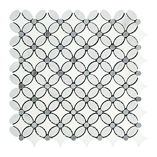 Carrara White Italian (Bianco Carrara) Marble Florida Flower Mosaic Tile with Blue & Gray Marble Dots, Polished
