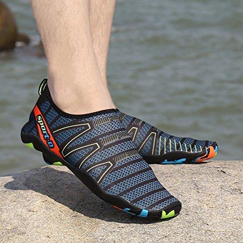 Coolloog Männer Frauen Barfuß Quick Dry Wasser Schuhe Leicht Atmungsaktiv Für Walking Swim Beach Yoga Cableway-schwarzblau