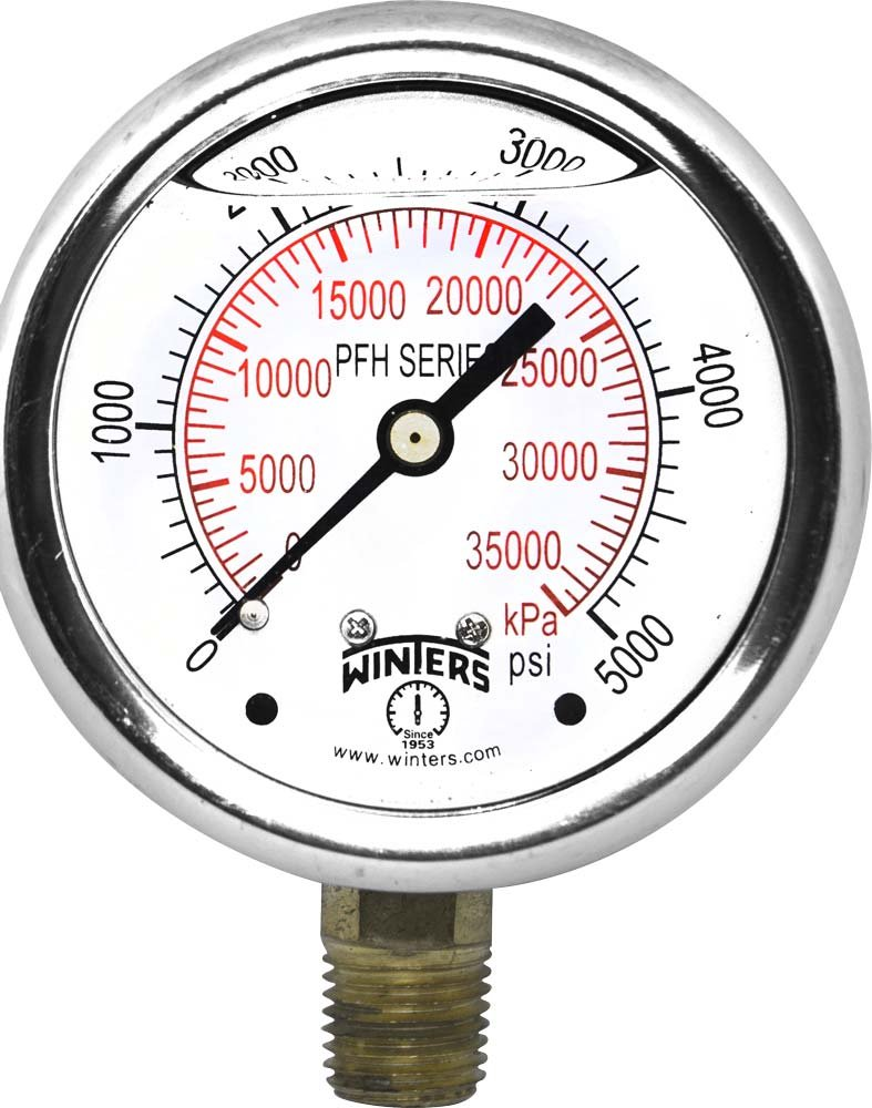 Winters PFH812 PFH Series Hydraulic SS Liquid Filled Gauge One Piece Socket 2.5 Dial 1 4 NPT Bottom 0 5000 psi KPA
