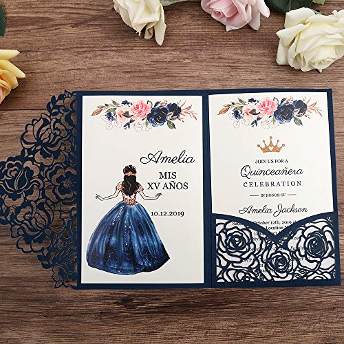 Doris Home wedding invitations with envelopes for Bridal Shower Invitations, Dinner Invitations(Blue, 50pcs Customized Printed) -
