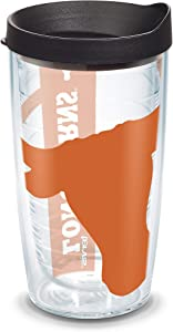 Tervis 1084739 Texas Longhorns Colossal Tumbler with Wrap and Black Lid 16oz, Clear