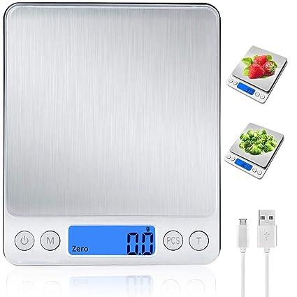 Báscula Digital para Cocina con Carga USB,Báscula Electrónica de Alta Alimentos Precisión (3