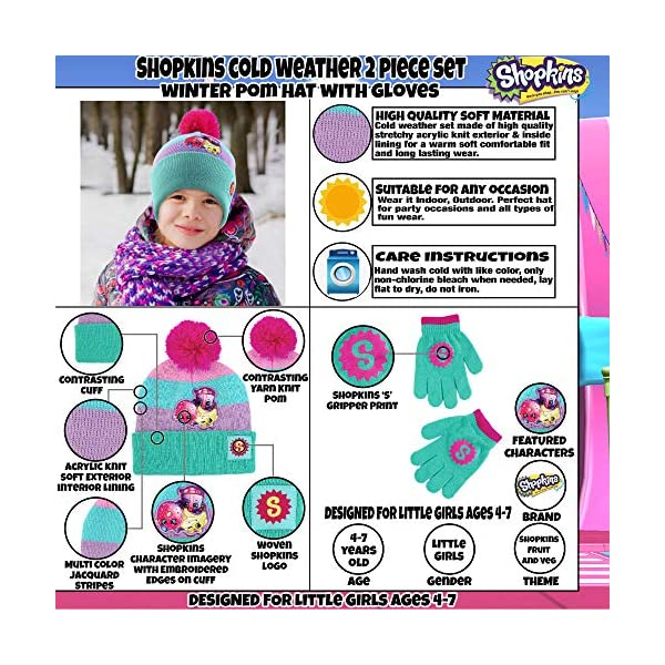 Shopkins Girls' Little Character Pom Hat and Gloves Cold Weather Set