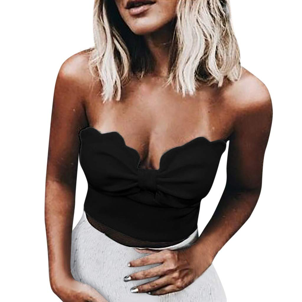 Sexy Tank Tops for Women Casual Fashion Bow Knot Strapless Off Shoulder Sleeveless Vest Crop Blouse Bandeau Camis ODGear Black
