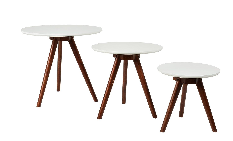 ts-ideen 7850 Set 3 tavolini da salotto tavolini da caffé tondi in Noce colore natutale e ripiano Bianco.