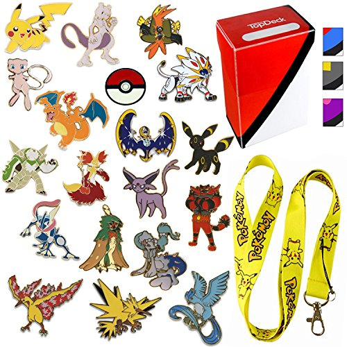 7 Colorful Vintage Pokemon Pins - Cool Pokemon Collectibles for Kids - Featuring Mewtwo, Charizard, Darkrai, Pikachu, and Others - No Duplicates - Pikachu Lanyard And Surprise Top Deck Box Included