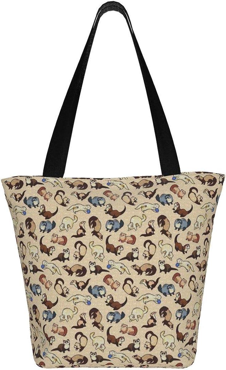Ferret Canvas Tote Bag Small Ferret embroidered tote bag medium size  