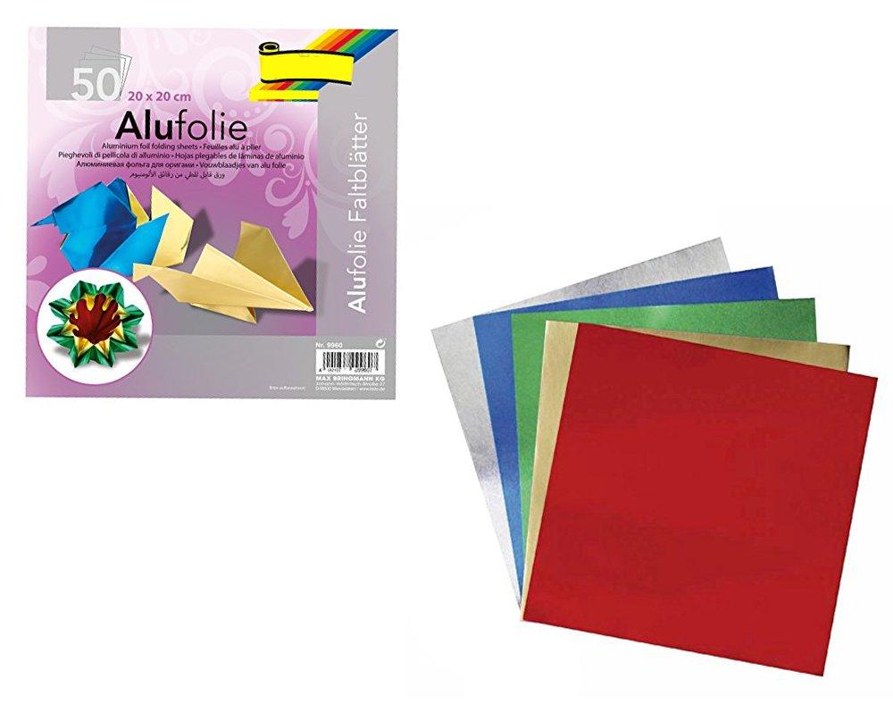 50 Sheets Square Christmas Metallic Foil Origami Paper 10cm
