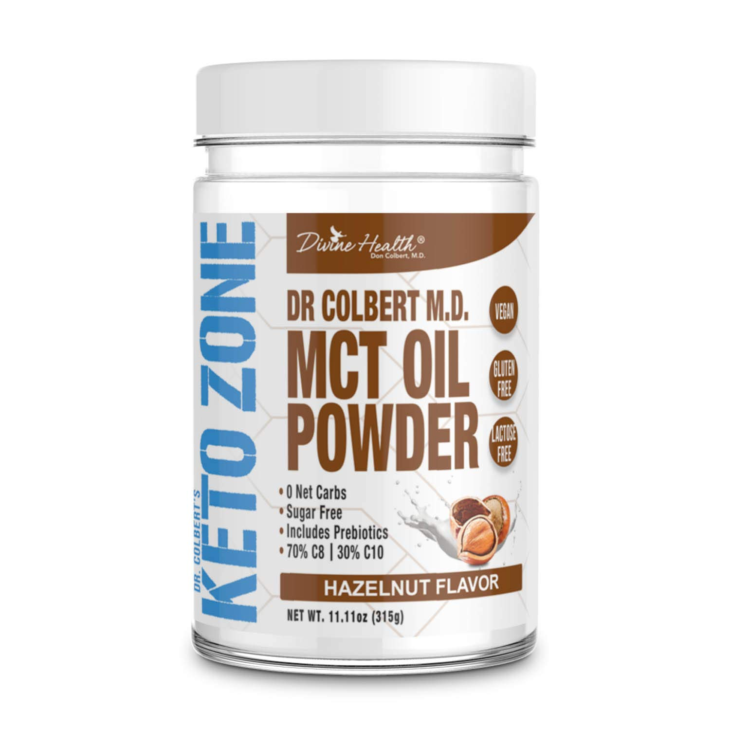 Keto Zone MCT Oil Powder | All Natural Hazelnut Flavor | 300 Grams & 30 Day Supply | Recommended in Dr. Colbert's Keto Zone Diet | Ketogenic Creamer | Best MCT Powder | 70% C8 30% C10 | 0 Net Carbs by Divine Health