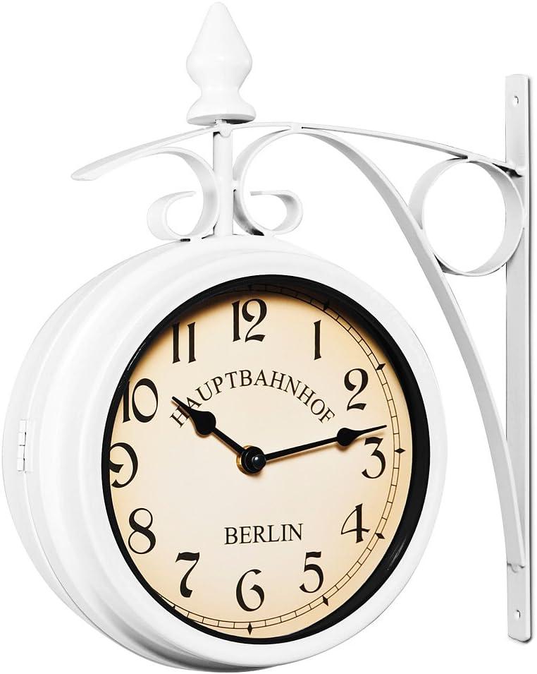 Deuba Reloj de Pared Estación de Tren Blanco Estilo Vintage Doble Esfera - Hierro Forjado para Interior y terraza