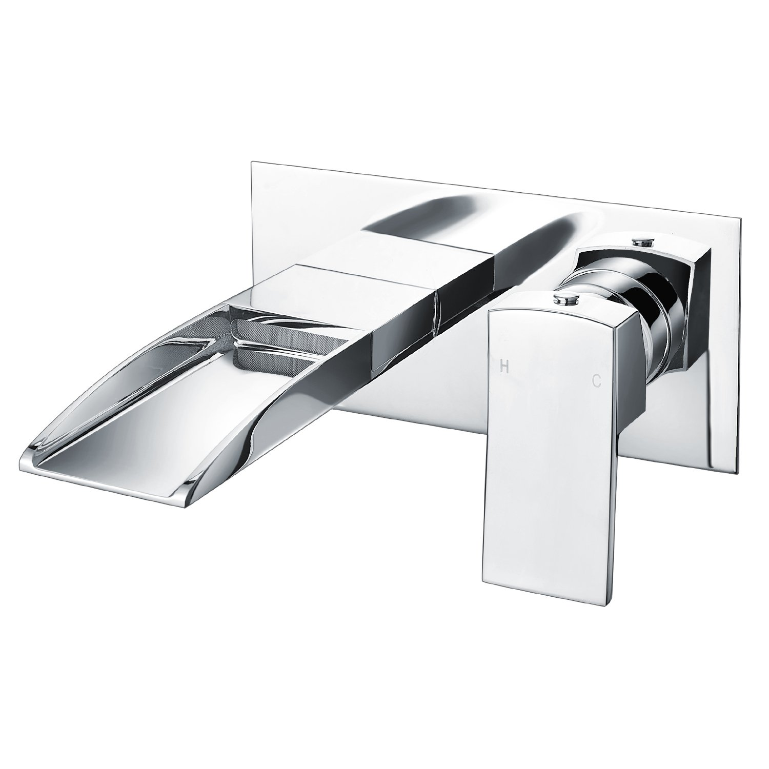 Bath Taps Wall Mounted Waterfall Bathroom Mixer Filler Tap Chrome WasserRhythm