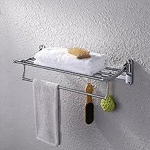 KES Bathroom Foldable Towel Rack Shelf with 5 Coat and Robe Hooks Wall Mount, Chrome, A3010S60