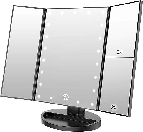 WEILY Espejo de Maquillaje con 21 Luces LED y Lupa 2X/ 3X, Doble Fuente de alimentación Espejos cosméticos con luz LED (Negro): Amazon.es: Hogar