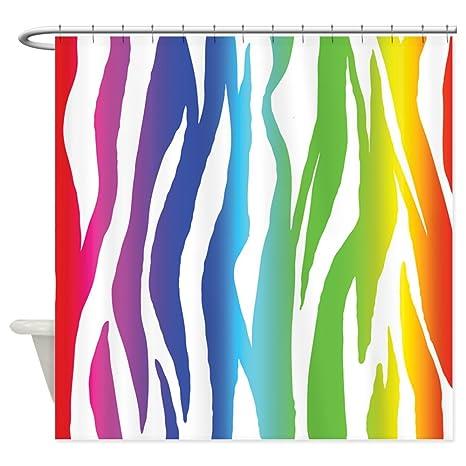 CafePress Rainbow Zebra Print Shower Curtain Decorative Fabric 69quot