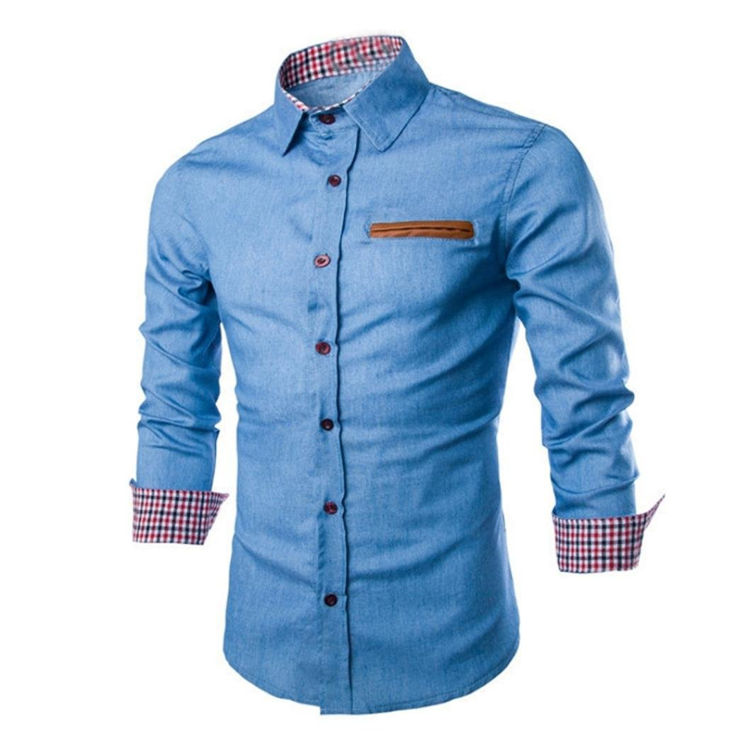 Luxury Mens Denim Shirts Casual Stylish Long Sleeve Patchwork Slim Fit Business Dress Shirts Tops (S (Asia:M), Light Blue) by WM & MW