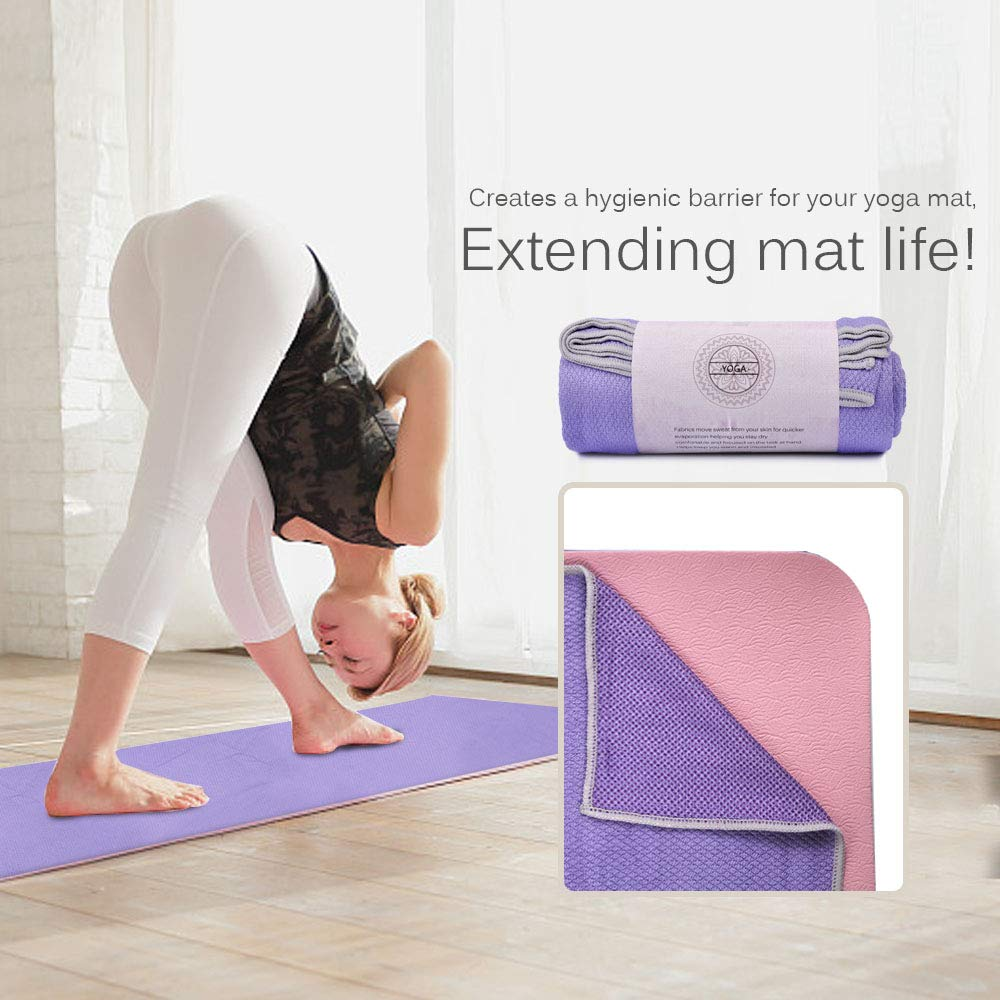 UCEC Yoga Mat Towel, Double-Sided Non-Slip Hot Yoga Towel, Sweat Absorbent & Quick Drying, 100% Microfiber for Hot Yoga, Bikram, Pilates and Fitness