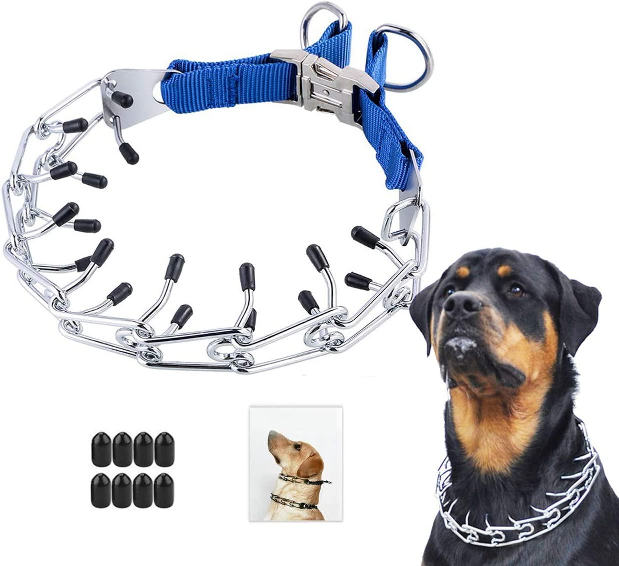 Heavy Duty Leash for Medium Large Dogs Choke Pinch Training Collar 3.5 mm x 21.6 Adjustable Links with Comfort Rubber Tips Companet Dog Prong Collar with Protector
