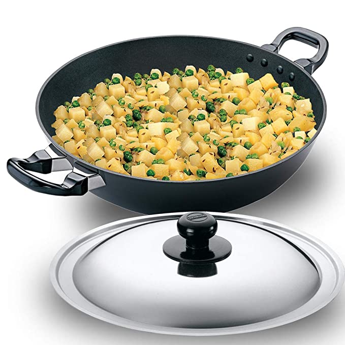 Hawkins Futura Non Stick Kadhai  Deep Fry Pan  with Steel Lid, 4L Frying Pans