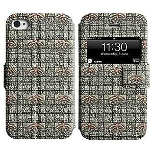 LEOCASE linda mariposa Funda Carcasa Cuero Tapa Case Para Apple iPhone 4 / 4S No.1003691