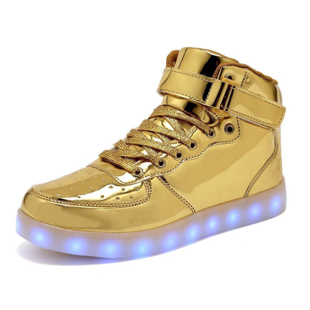 Women Men Dance High Top LED Light Up Shoes Flashing Sport Sneakers (Gold 45/14 B(M) US Women/10.5 D(M) US Men)