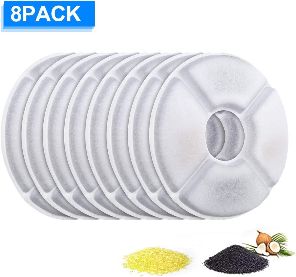 ITidyHome Pet Water Fountain Replacement Filter 16 Pack Premium Cotton Activated Carbon Replacement Water Fountain Filter for 1.6L Pet Fountain Pet Water Fountain Filter Keep Water Fresh