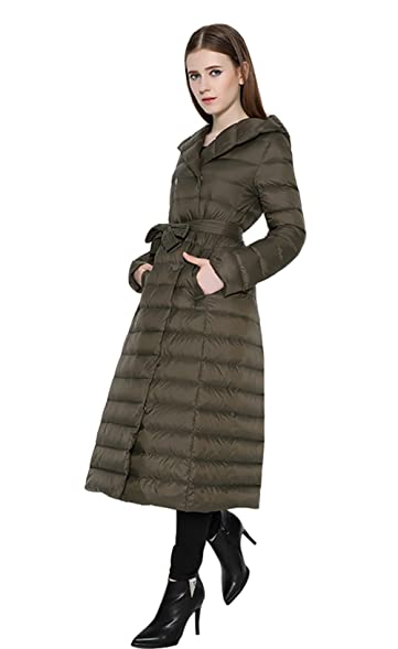 Wicky LS Women's Long Lightweight Thin Down Coat with Hood Double ...