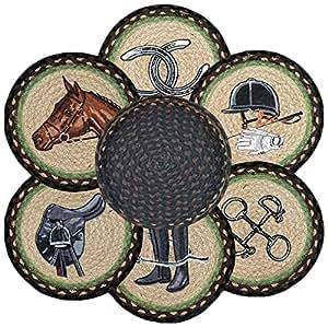 Tierra alfombras 56 383e ecuestres redonda cesta y 6 for Alfombras comedor amazon