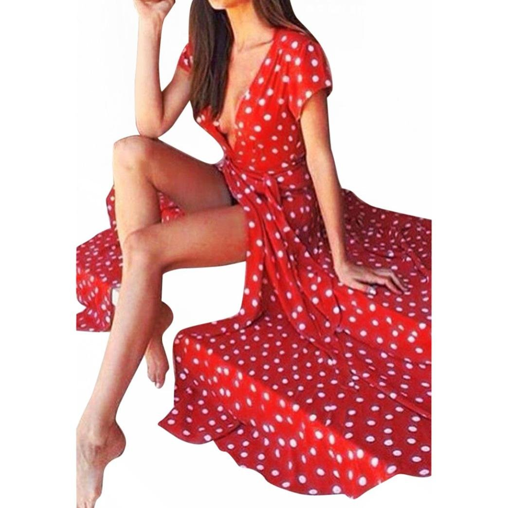 Women Long Dress Daoroka Sexy V-neck Polka Dot Print Spaghetti Split Boho Long Maxi Skirt Cocktail Casual Beach Dress (M, Red)