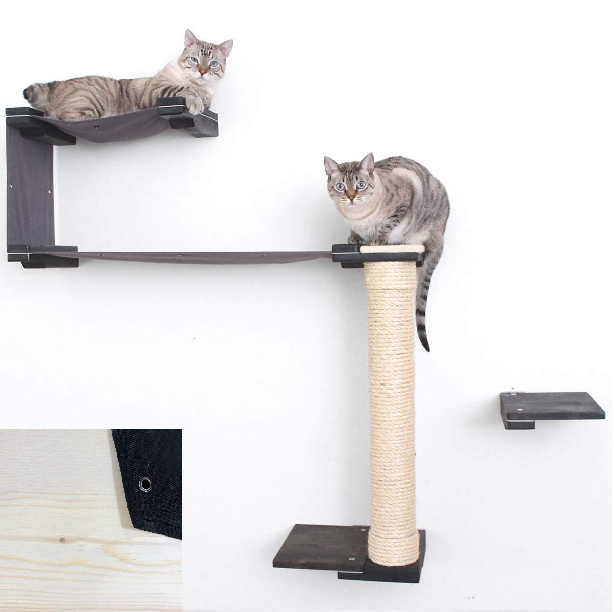 CatastrophiCreations Cat Mod Crow's nest - Multiple-Level Cat Hammock & Climbing Activity Center - Handcrafted Wall-Mounted Cat Tree Shelves