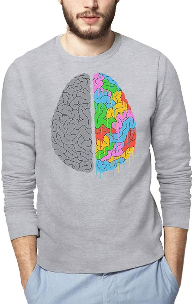 MISYAA Shirts for Men Long Sleeve Brain Anatomy Print Shirt Muscle Tank Top Basic Sweatshirt Friends Gifts Mens Tops