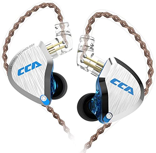 CCA C12 IEM in Ear Monitor 5BA 1DD Multi Drivers HiFi Earphones, 5 Balanced Armature and 1 Dynamic Drivers High Fidelity CCA Earbuds Without mic, Blue