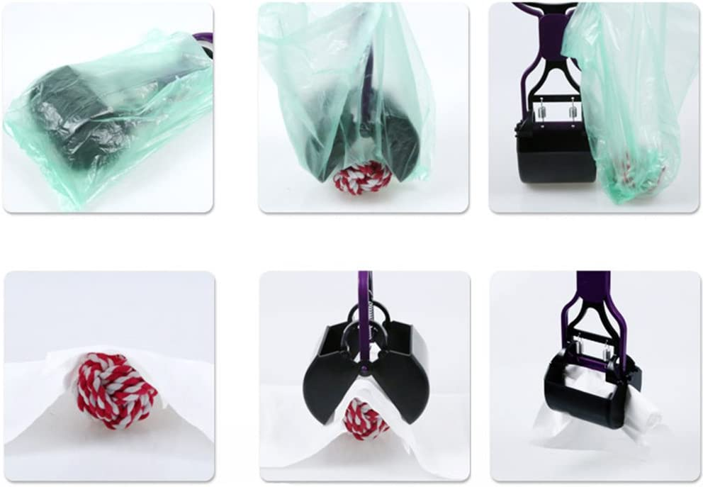 XMDZ Pooper Scooper for Dogs Cats Long Handle Foldable Spring Loaded Pickup Tool Easy Clean Up Outdoors 24 inch Purple