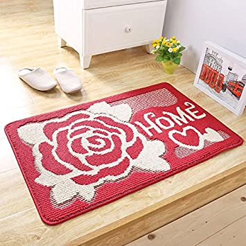 PRAGOO Rubber Backed Home Doormat Flower Entrance Mat Bath Kitchen Mat Non Slip House Door Rug