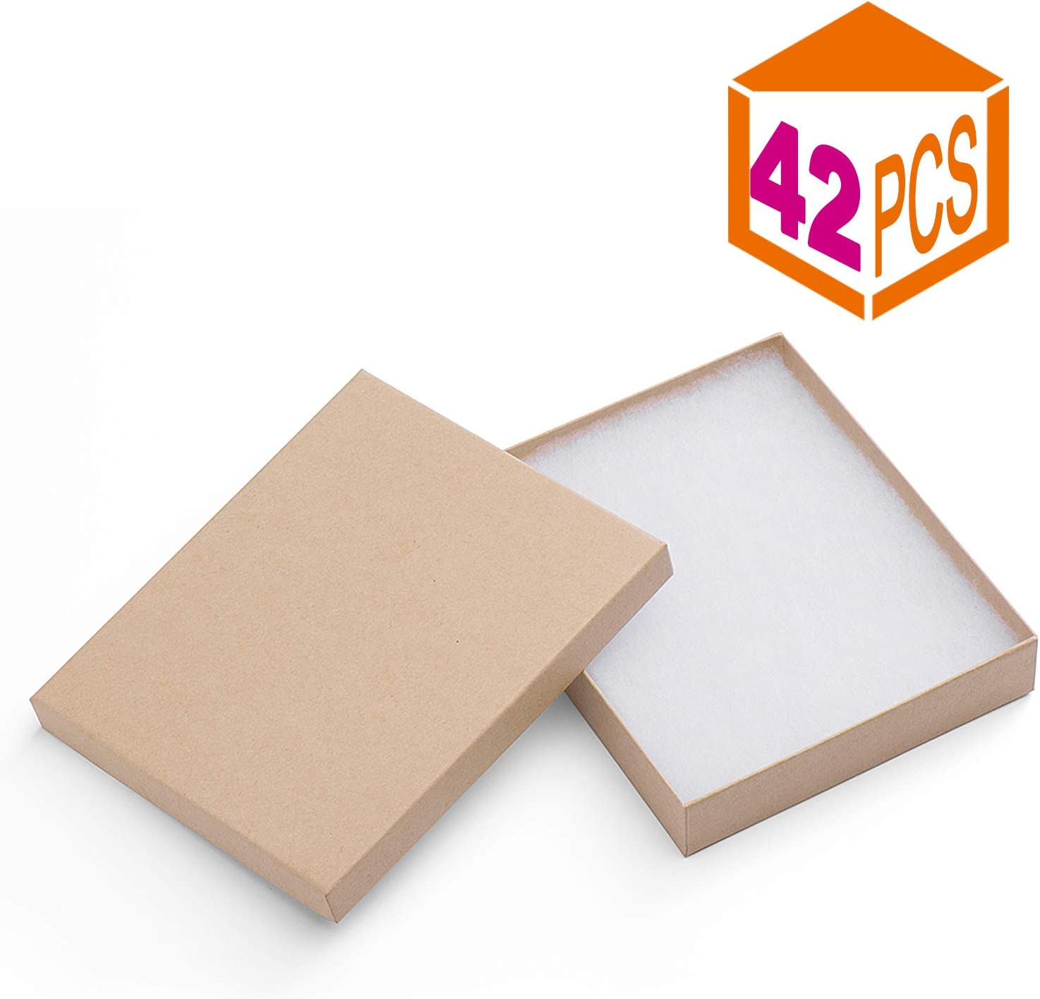 MESHA 42 Pack Cardboard 6x5x1 Inch Paper Box for Jewelry Box Gift Case Thick Paper Box With Cotton Filled (Brown)