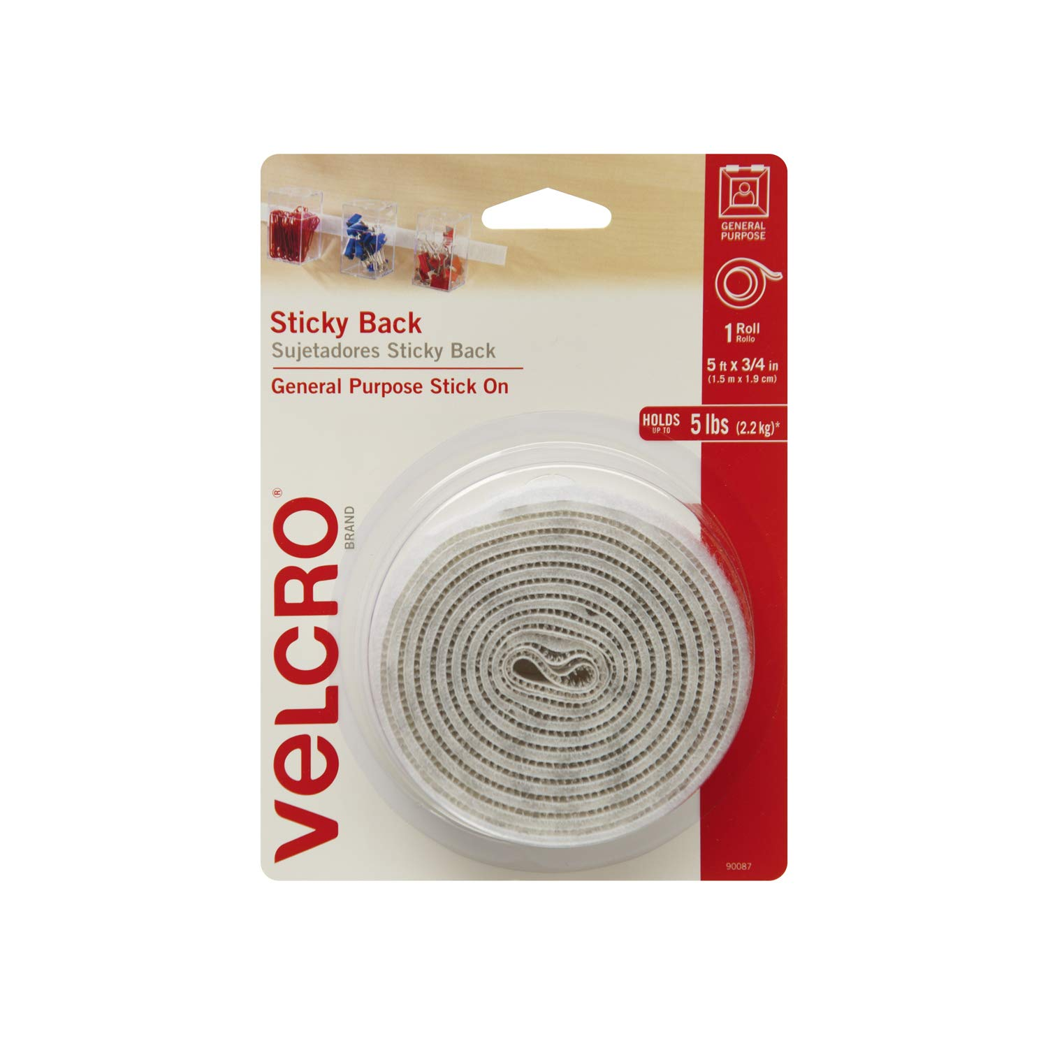 VELCRO Brand - Sticky Back Hook and Loop Fasteners| Perfect for Home or Office |5ft x 3/4in Roll | White