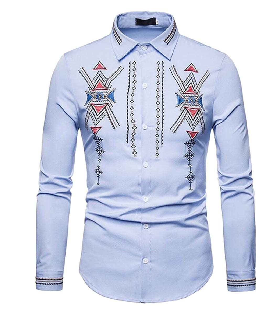 FLCH+YIGE Mens Embroidery Long Sleeve Slim Fit Casual Button Down Dress Shirt