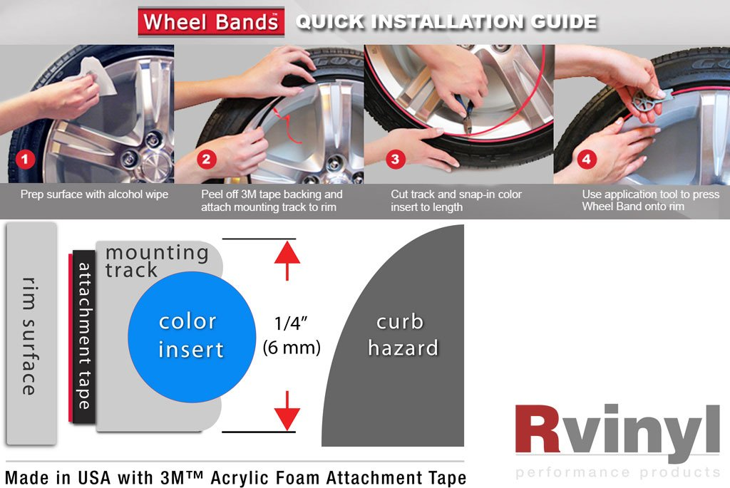 Wheel Bands Rim Protector - Pink W/ Black Track by Wheel Bands (Image #3)