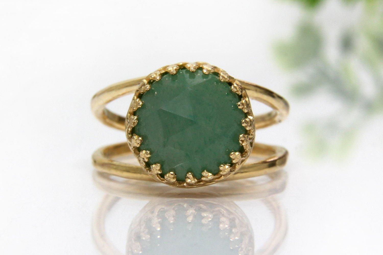 aventurine ring,gold ring,green stone ring,charm ring,gemstone ring,green ring,delicate ring,everyday ring