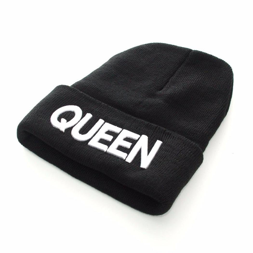 Bifast Women Casual Letter Embroidery Stretchy Knitted Beanie Hat Winter Fashion Bomber Hats